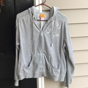 Cute grey hoodie with sequins, from Ruby Red!
